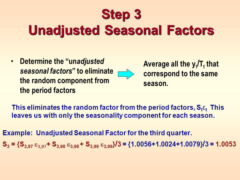 This eliminates the random factor from the period factors, S t ε t This leaves us with only the seasonality component for each season.