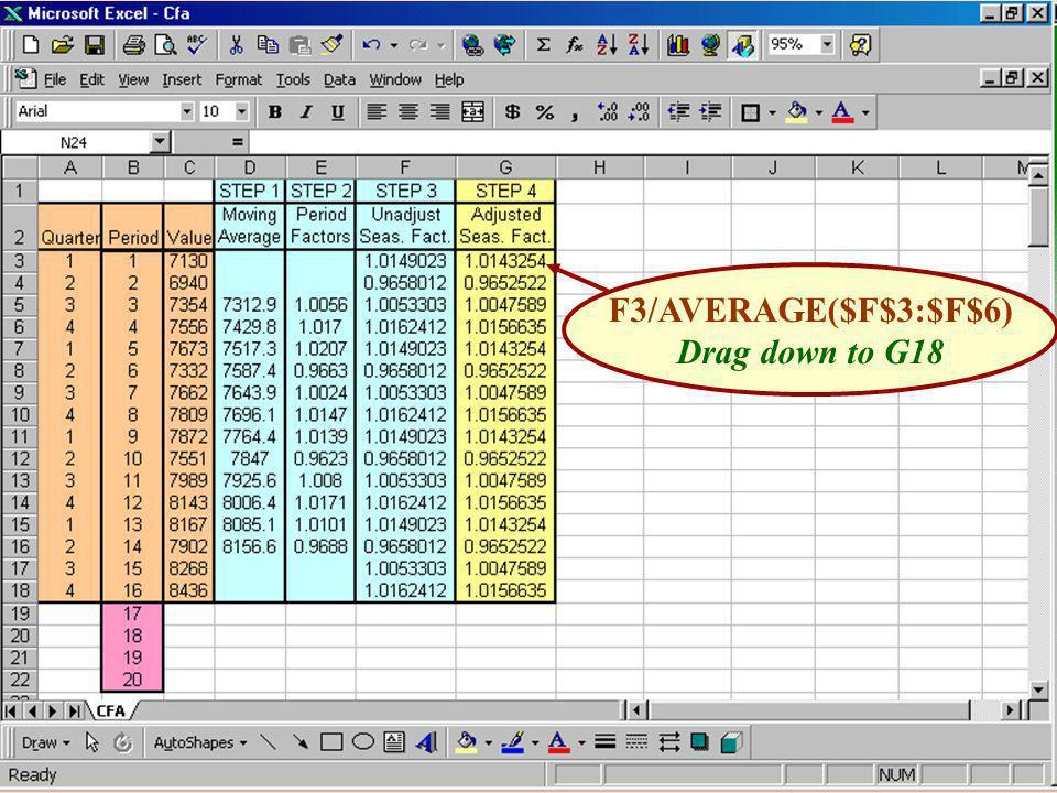 F3/AVERAGE($F$3:$F$6) Drag down to G18
