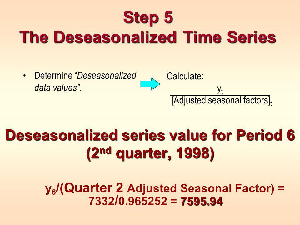Step 5 The Deseasonalized Time Series Deseasonalized series value for Period 6 (2 nd quarter, 1998) y 6 /(Quarter 2 Adjusted Seasonal Factor) = 7332 / = Determine Deseasonalized data values.