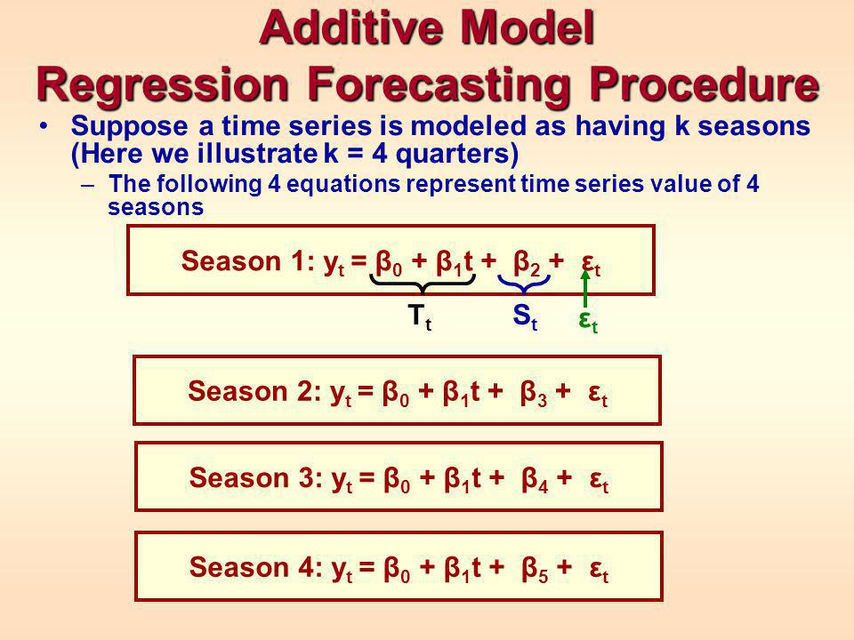 Additive Model Regression Forecasting Procedure Suppose a time series is modeled as having k seasons (Here we illustrate k = 4 quarters) –The following 4 equations represent time series value of 4 seasons Season 1: y t = β 0 + β 1 t + β 2 + ε t TtTt εtεt Season 2: y t = β 0 + β 1 t + β 3 + ε t StSt Season 3: y t = β 0 + β 1 t + β 4 + ε t Season 4: y t = β 0 + β 1 t + β 5 + ε t