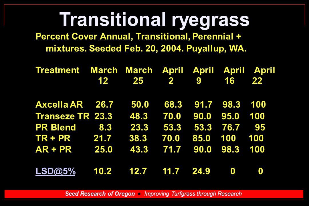 Seed Research of Oregon Improving Turfgrass through Research Transitional ryegrass Percent Cover Annual, Transitional, Perennial + mixtures.