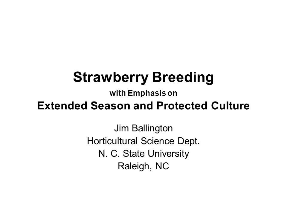 Why Include Day-neutrals in the Breeding Objectives Day-neutral strawberries also show promise for two season production (fall & spring); OR Continuous production throughout late fall, winter and early spring; From plants established in late summer in high tunnels, or row covers (Deep South).