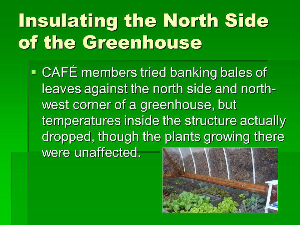 Insulating the North Side of the Greenhouse CAFÉ members tried banking bales of leaves against the north side and north- west corner of a greenhouse, but temperatures inside the structure actually dropped, though the plants growing there were unaffected.