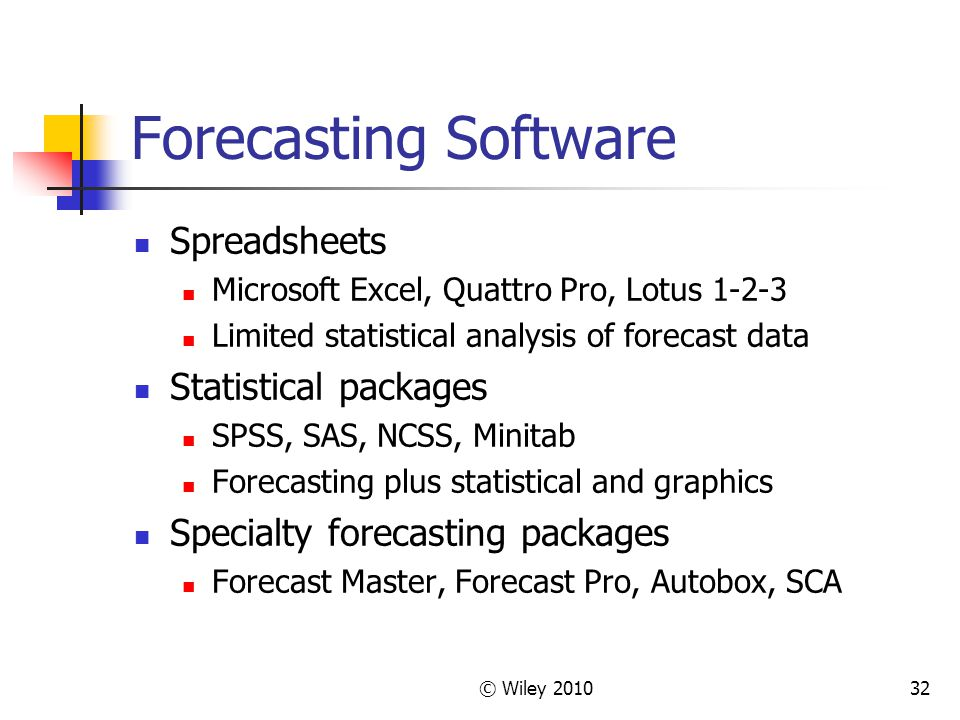 © Wiley 201032 Forecasting Software Spreadsheets Microsoft Excel, Quattro Pro, Lotus 1-2-3 Limited statistical analysis of forecast data Statistical p