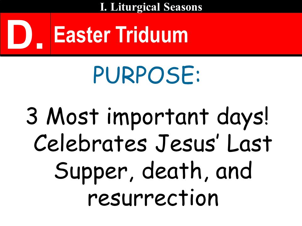 Easter Triduum PURPOSE: 3 Most important days.