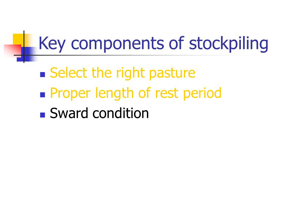Key components of stockpiling Select the right pasture Proper length of rest period Sward condition