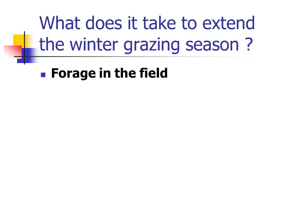 What does it take to extend the winter grazing season Forage in the field