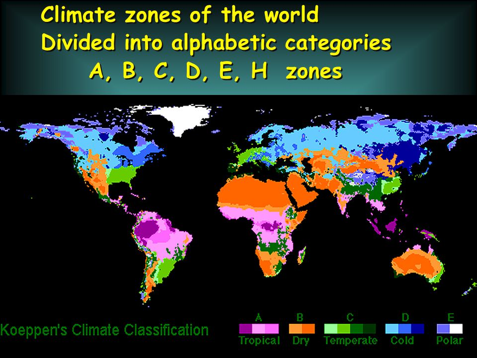 KÖPPEN Climate classification Tropical climates designated with a capital A Based in part on vegetation zones that are sensitive to moisture and temperature KÖPPEN Climate classification Tropical climates designated with a capital A Based in part on vegetation zones that are sensitive to moisture and temperature