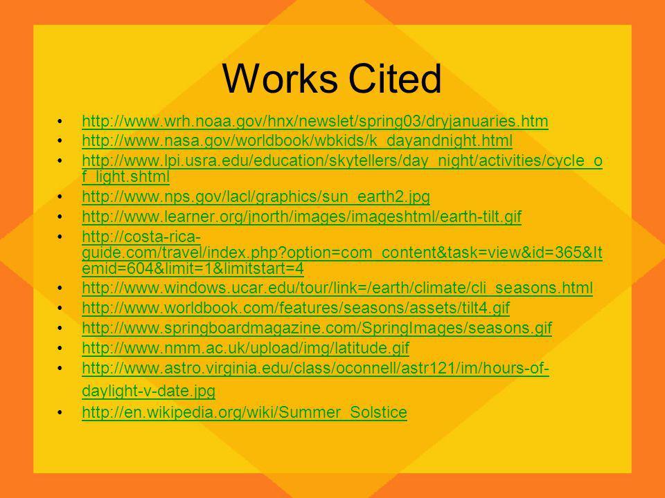 Works Cited http://www.wrh.noaa.gov/hnx/newslet/spring03/dryjanuaries.htm http://www.nasa.gov/worldbook/wbkids/k_dayandnight.html http://www.lpi.usra.