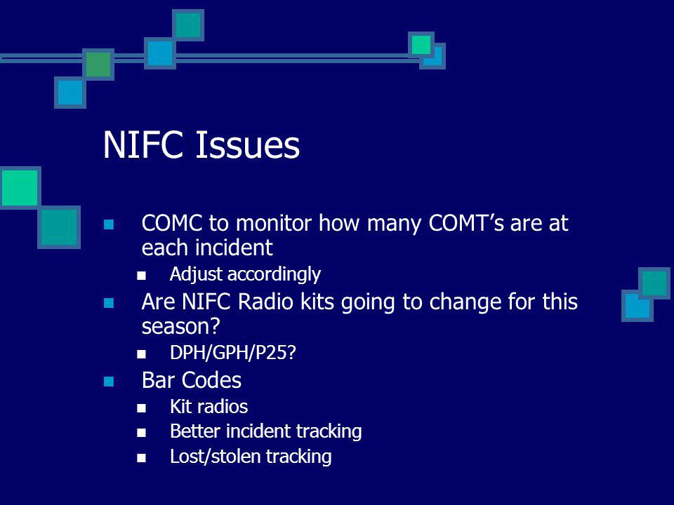 NIFC Issues COMC to monitor how many COMTs are at each incident Adjust accordingly Are NIFC Radio kits going to change for this season.
