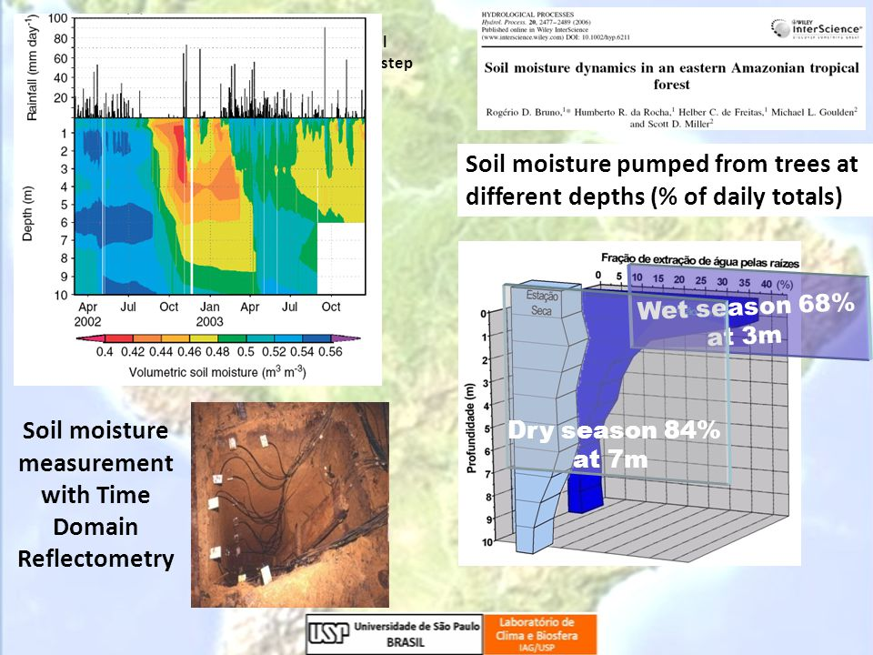 Wet season 68% at 3m Dry season 84% at 7m Soil moisture pumped from trees at different depths (% of daily totals) Soil moisture measurement with Time Domain Reflectometry The ability of forest vegetation to reach soil moisture and depend on its variability is a key step to understand the ecosystem resilience