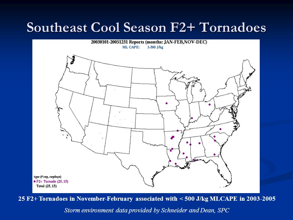 Southeast Cool Season F2+ Tornadoes 25 F2+ Tornadoes in November-February associated with < 500 J/kg MLCAPE in 2003-2005 Storm environment data provided by Schneider and Dean, SPC