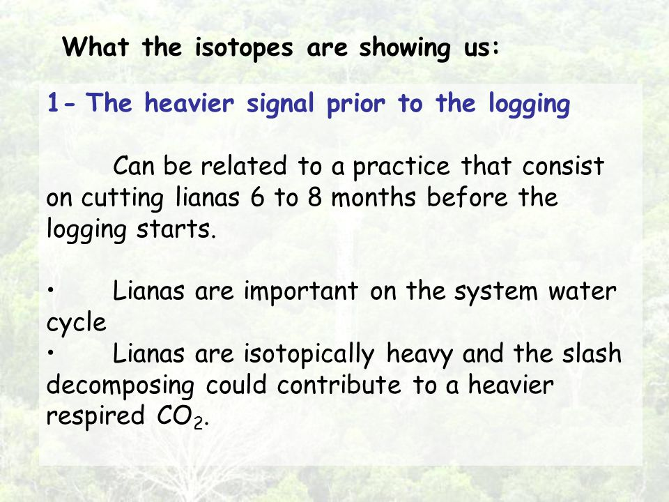 1- The heavier signal prior to the logging Can be related to a practice that consist on cutting lianas 6 to 8 months before the logging starts.