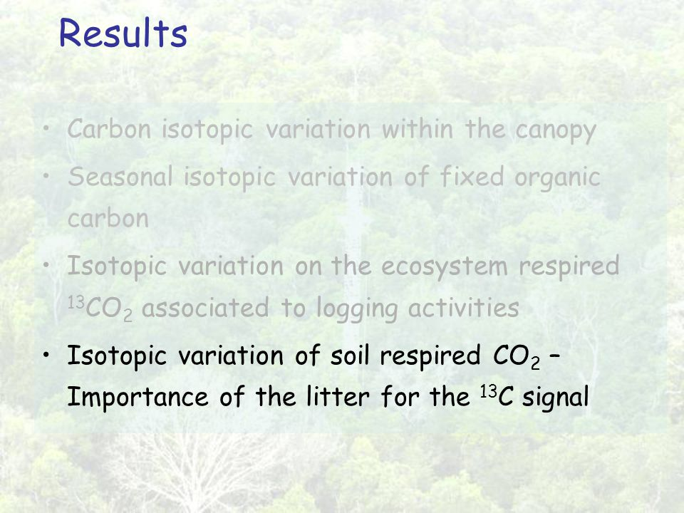 Results Carbon isotopic variation within the canopy Seasonal isotopic variation of fixed organic carbon Isotopic variation on the ecosystem respired 1