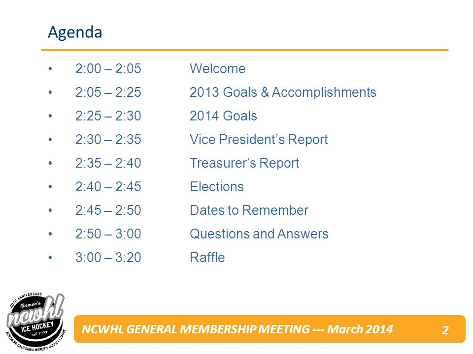 NCWHL GENERAL MEMBERSHIP MEETING --- March 2014 Agenda 2:00 – 2:05Welcome 2:05 – 2: Goals & Accomplishments 2:25 – 2: Goals 2:30 – 2:35Vice Presidents Report 2:35 – 2:40 Treasurers Report 2:40 – 2:45Elections 2:45 – 2:50Dates to Remember 2:50 – 3:00 Questions and Answers 3:00 – 3:20Raffle 2