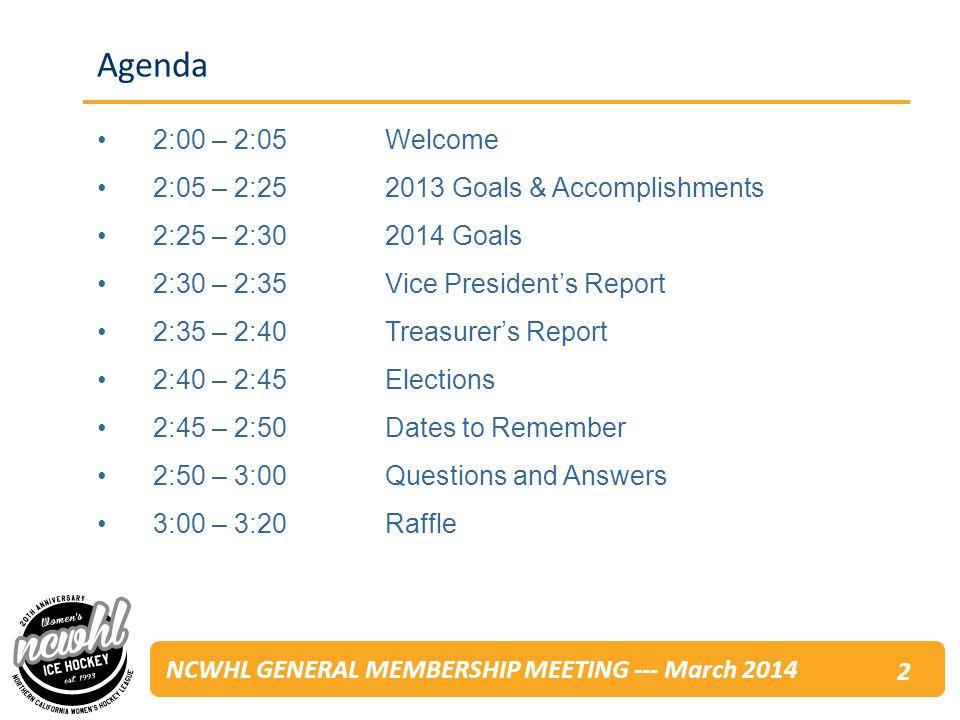 NCWHL GENERAL MEMBERSHIP MEETING --- March 2014 Q&A 23