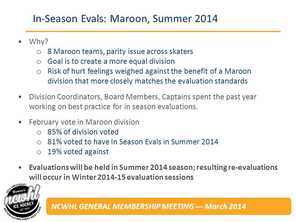 NCWHL GENERAL MEMBERSHIP MEETING --- March 2014 Unpaid volunteers will evaluate players in Maroon games throughout the Summer 2014 season.