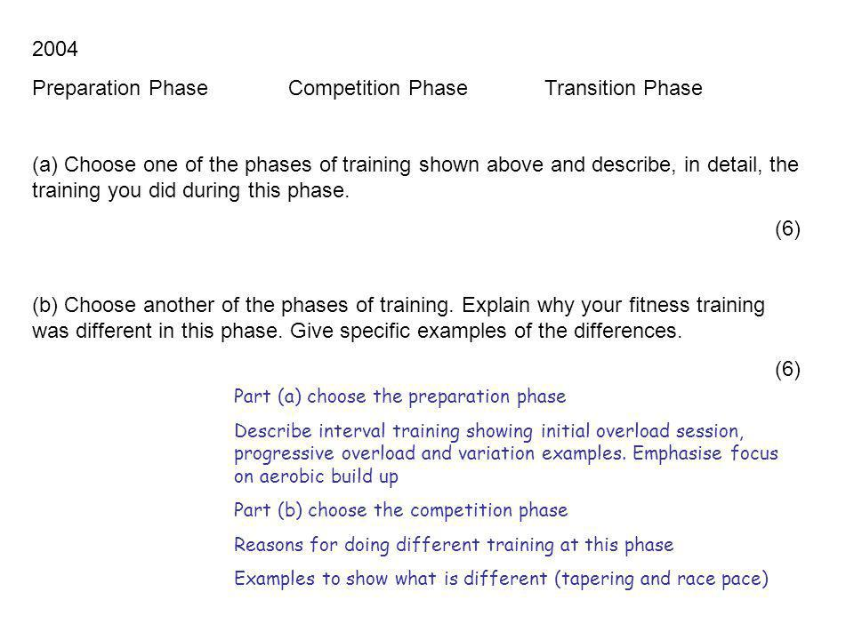 2006 The training year can be divided into 3 phases or periods Preparation or preseason Competition or inseason Transition or off season Select one phase or period.