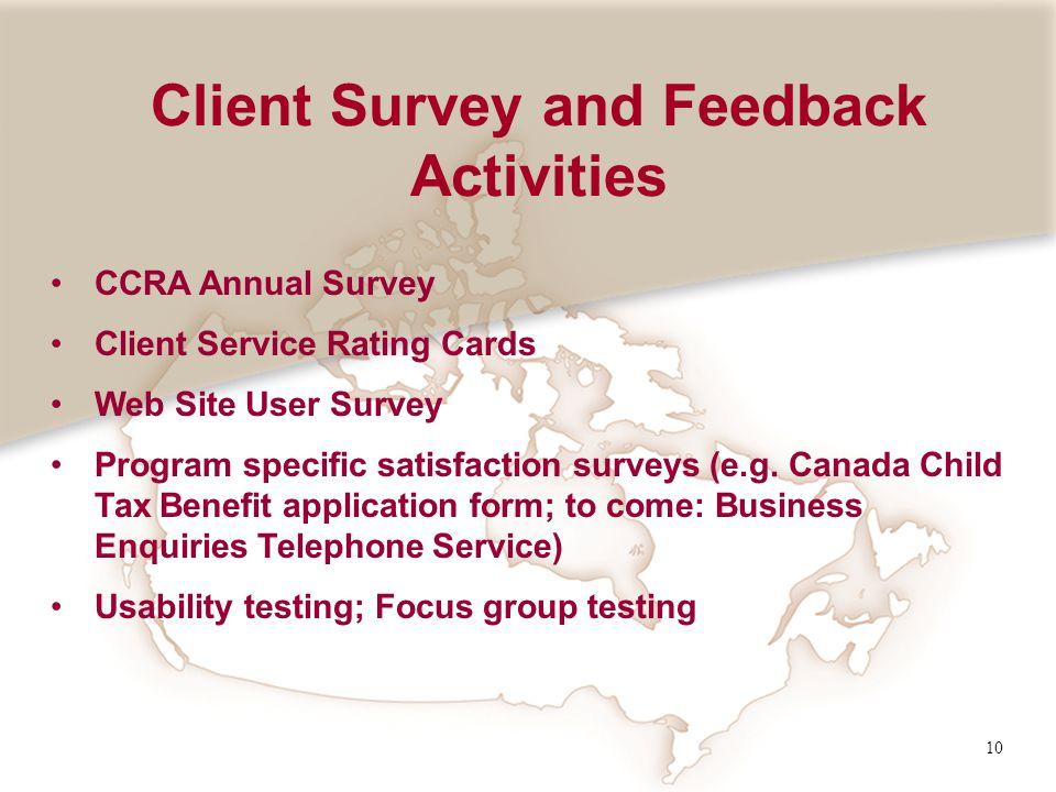 10 CCRA Annual Survey Client Service Rating Cards Web Site User Survey Program specific satisfaction surveys (e.g.