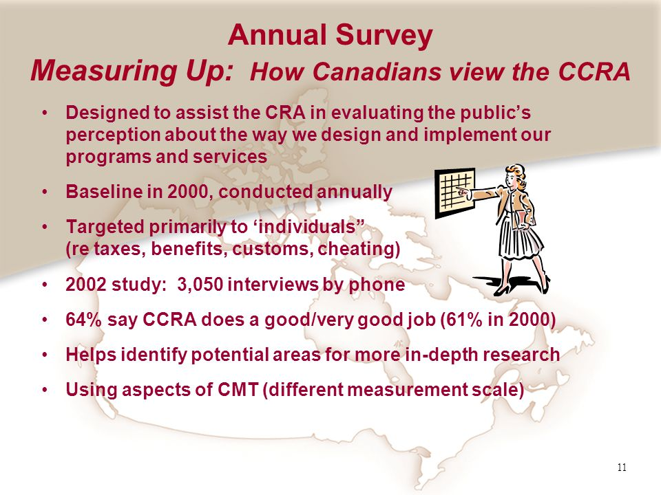 11 Annual Survey Measuring Up: How Canadians view the CCRA Designed to assist the CRA in evaluating the publics perception about the way we design and