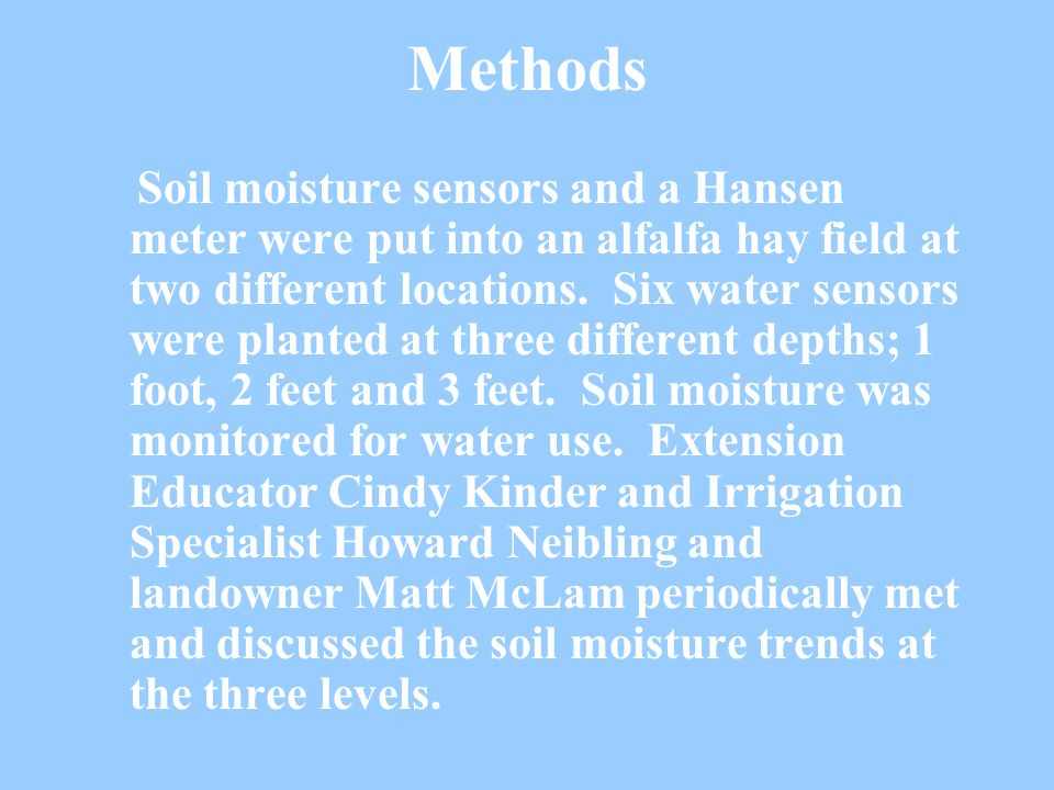 Methods Soil moisture sensors and a Hansen meter were put into an alfalfa hay field at two different locations.