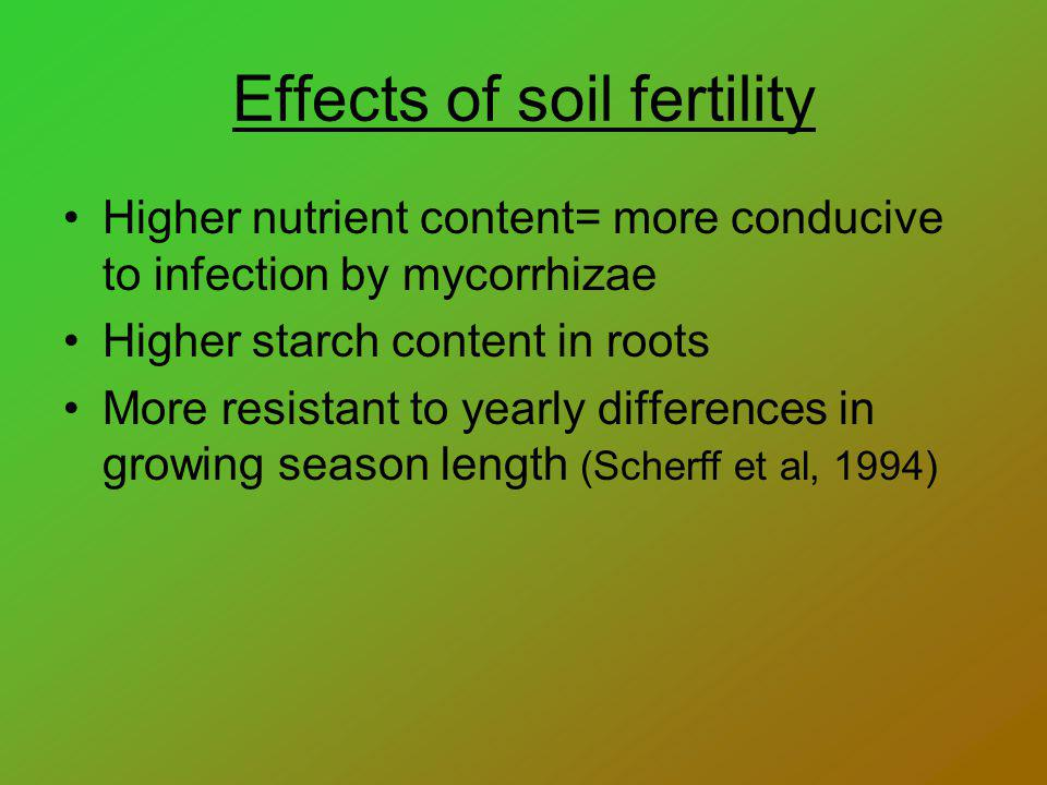 Effects of soil fertility Higher nutrient content= more conducive to infection by mycorrhizae Higher starch content in roots More resistant to yearly differences in growing season length (Scherff et al, 1994)