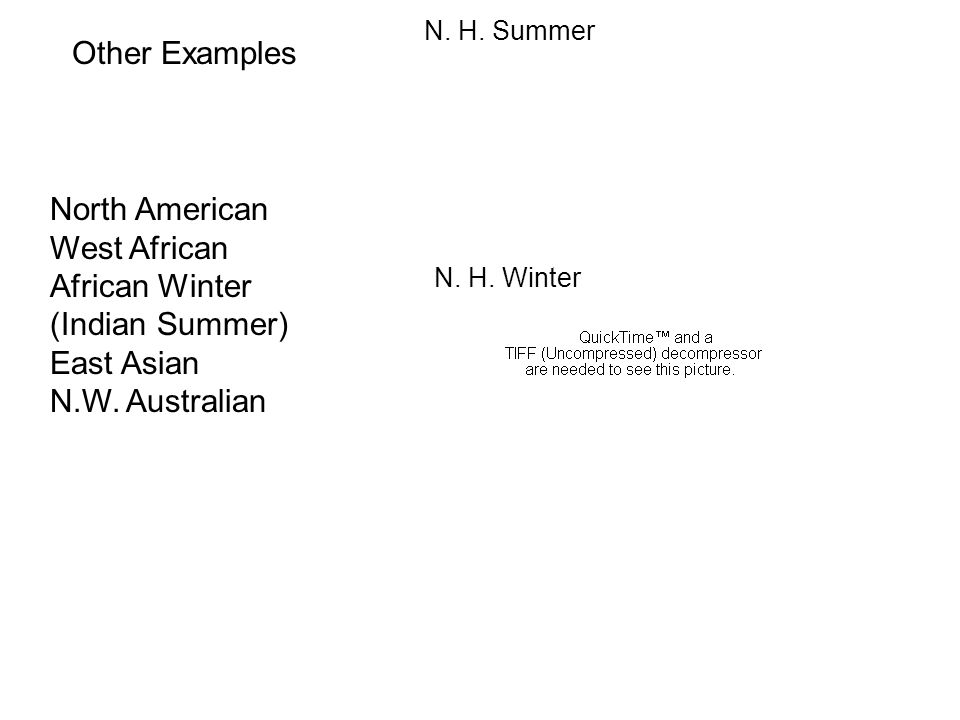Other Examples North American West African African Winter (Indian Summer) East Asian N.W. Australian N. H. Summer N. H. Winter