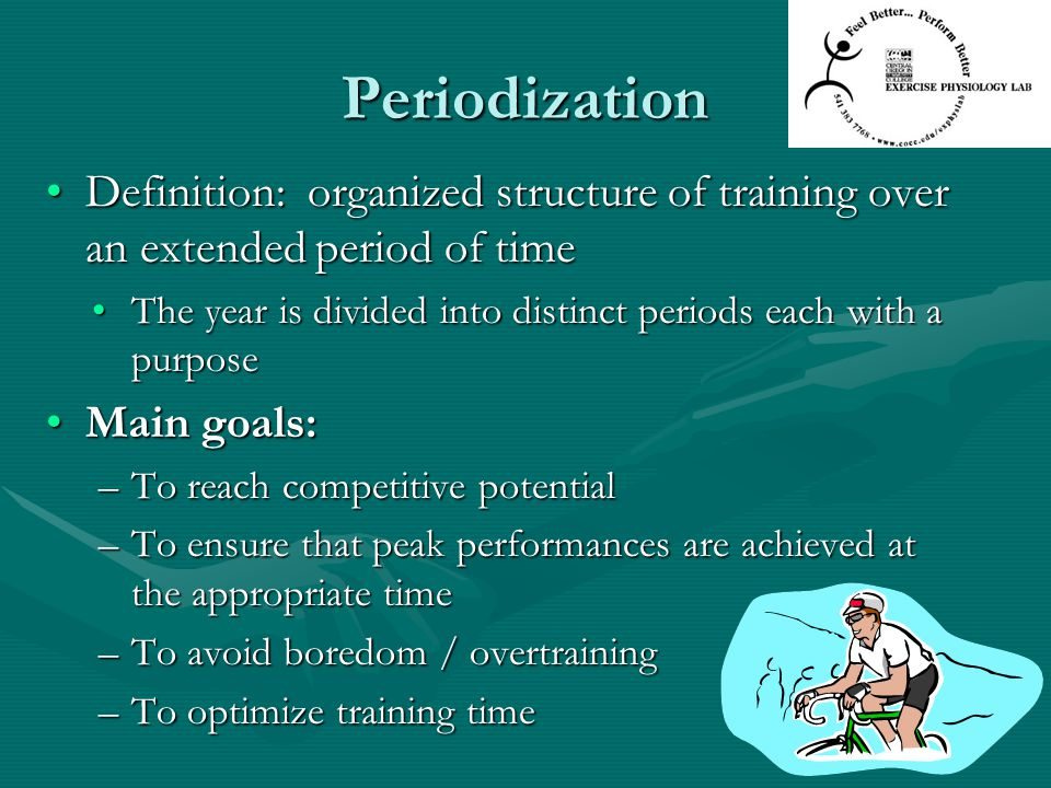 Periodization Definition: organized structure of training over an extended period of timeDefinition: organized structure of training over an extended