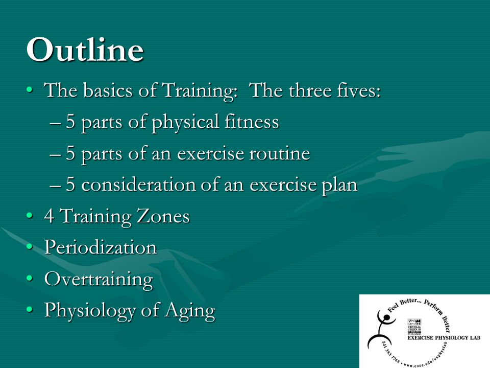 Outline The basics of Training: The three fives:The basics of Training: The three fives: –5 parts of physical fitness –5 parts of an exercise routine