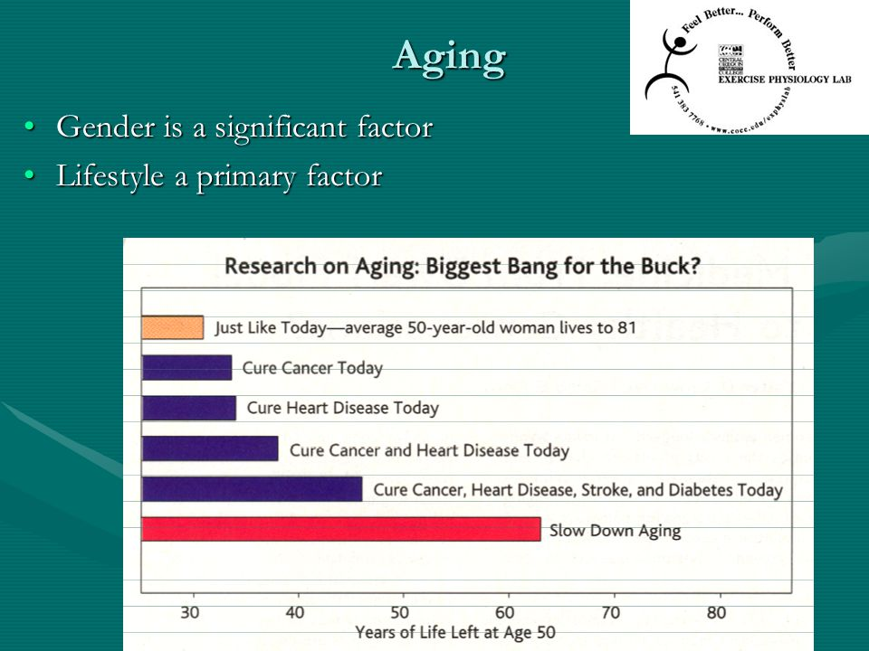 Aging Gender is a significant factorGender is a significant factor Lifestyle a primary factorLifestyle a primary factor
