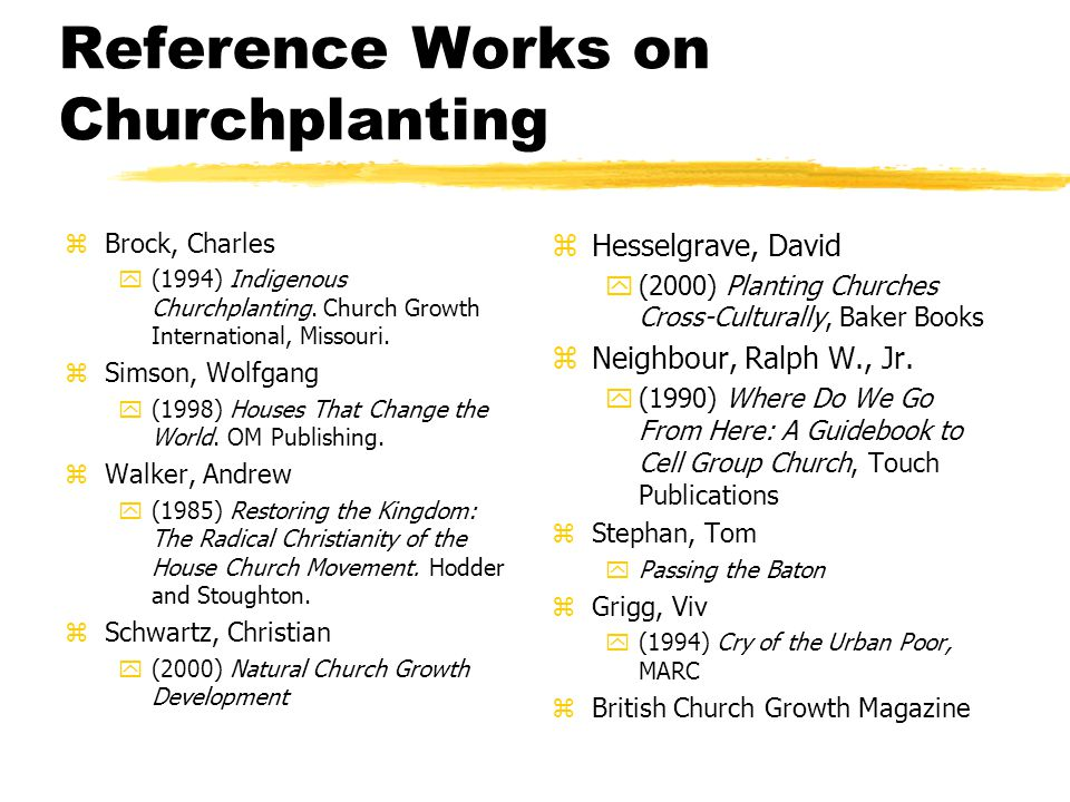 Reference Works on Churchplanting zBrock, Charles y(1994) Indigenous Churchplanting.