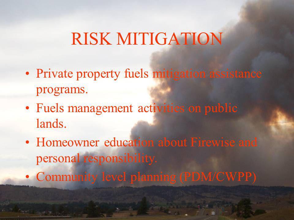 RISK MITIGATION Private property fuels mitigation assistance programs. Fuels management activities on public lands. Homeowner education about Firewise
