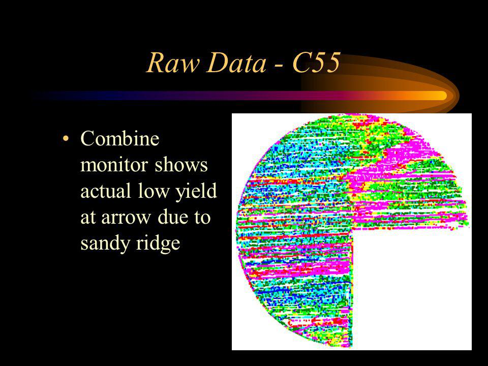 Raw Data - C55 Combine monitor shows actual low yield at arrow due to sandy ridge