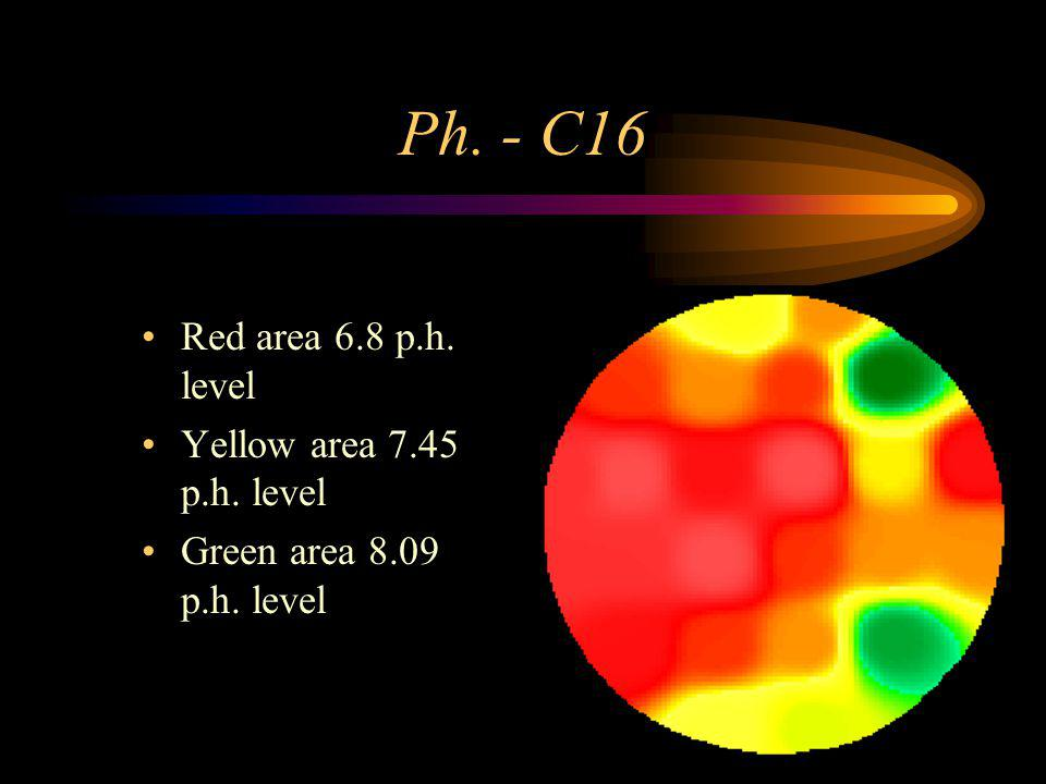 Ph. - C16 Red area 6.8 p.h. level Yellow area 7.45 p.h. level Green area 8.09 p.h. level