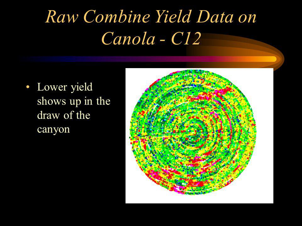 Raw Combine Yield Data on Canola - C12 Lower yield shows up in the draw of the canyon