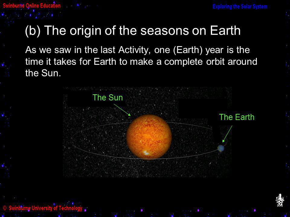 (b) The origin of the seasons on Earth As we saw in the last Activity, one (Earth) year is the time it takes for Earth to make a complete orbit around the Sun.