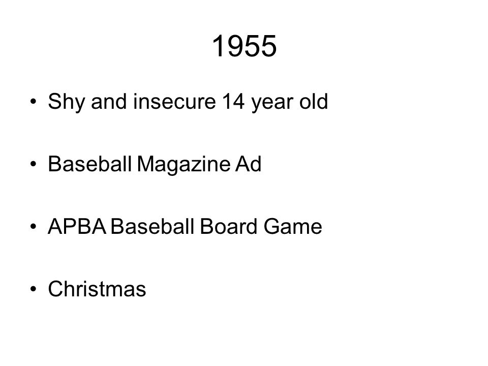 1955 Shy and insecure 14 year old Baseball Magazine Ad APBA Baseball Board Game Christmas