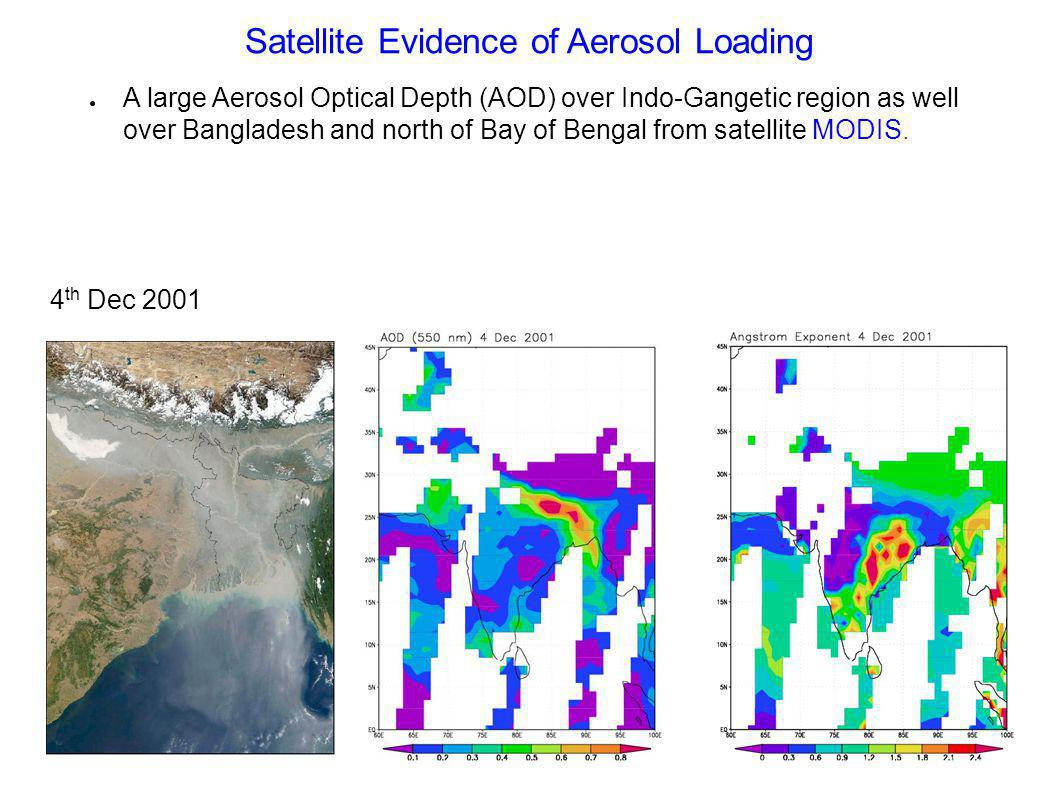 Satellite Evidence of Aerosol Loading A large Aerosol Optical Depth (AOD) over Indo-Gangetic region as well over Bangladesh and north of Bay of Bengal from satellite MODIS.