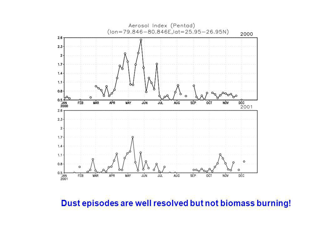 Dust episodes are well resolved but not biomass burning!