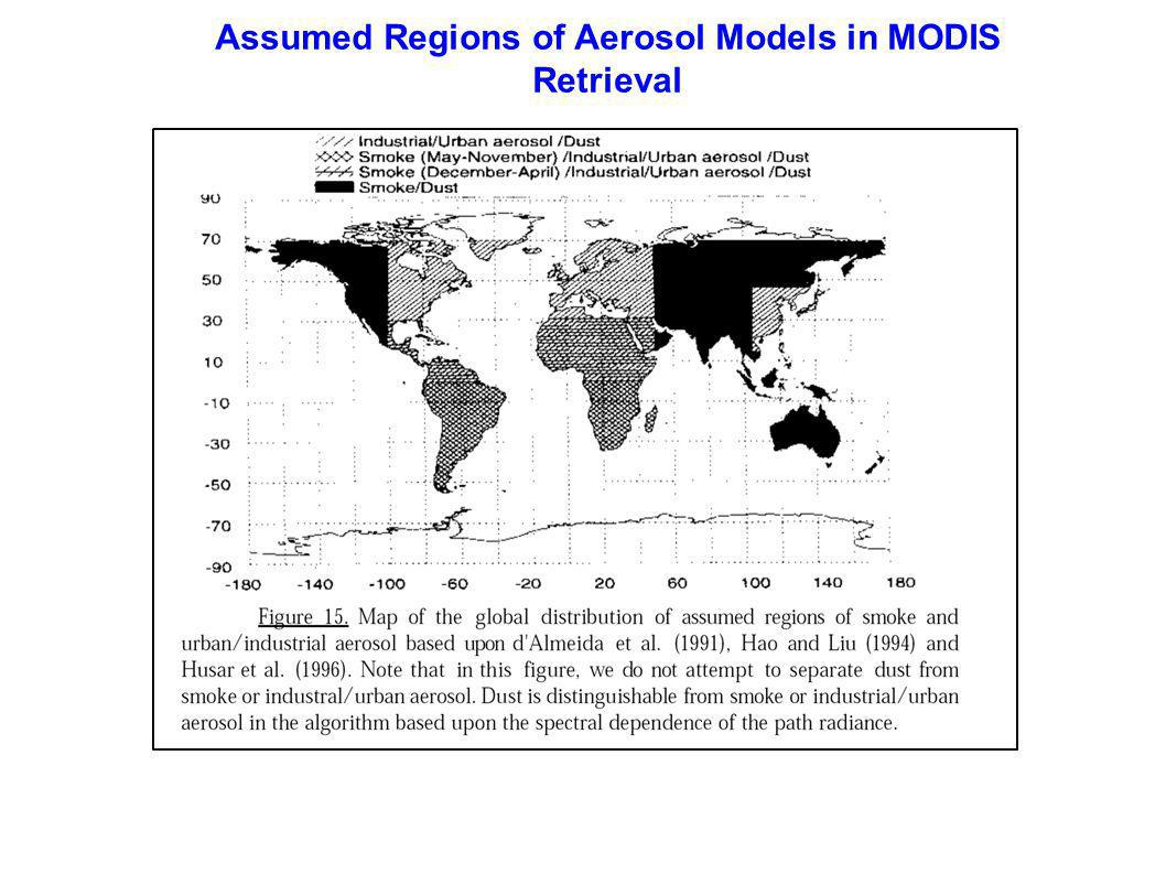 Assumed Regions of Aerosol Models in MODIS Retrieval