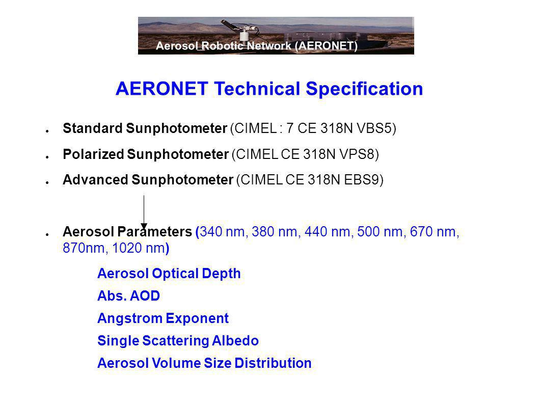AERONET Technical Specification Standard Sunphotometer (CIMEL : 7 CE 318N VBS5) Polarized Sunphotometer (CIMEL CE 318N VPS8) Advanced Sunphotometer (C