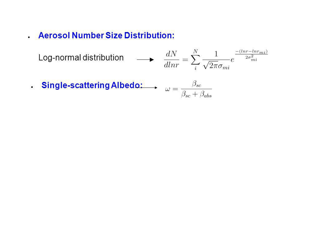 Aerosol Number Size Distribution: Log-normal distribution Single-scattering Albedo: