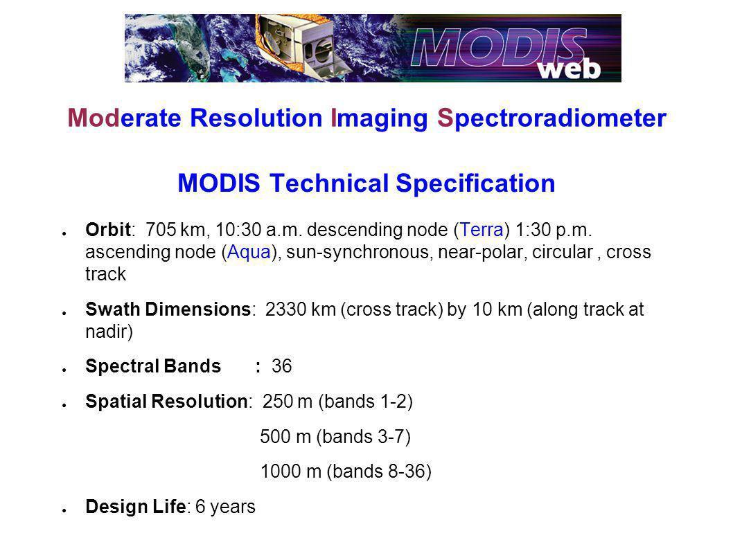 MODIS Technical Specification Orbit: 705 km, 10:30 a.m.