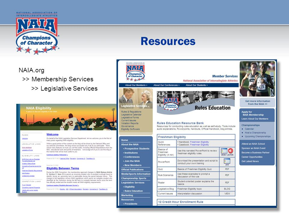 Resources NAIA.org >> Membership Services >> Legislative Services