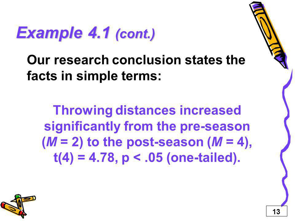 13 Example 4.1 (cont.) Our research conclusion states the facts in simple terms: Throwing distances increased significantly from the pre-season (M = 2) to the post-season (M = 4), t(4) = 4.78, p <.05 (one-tailed).