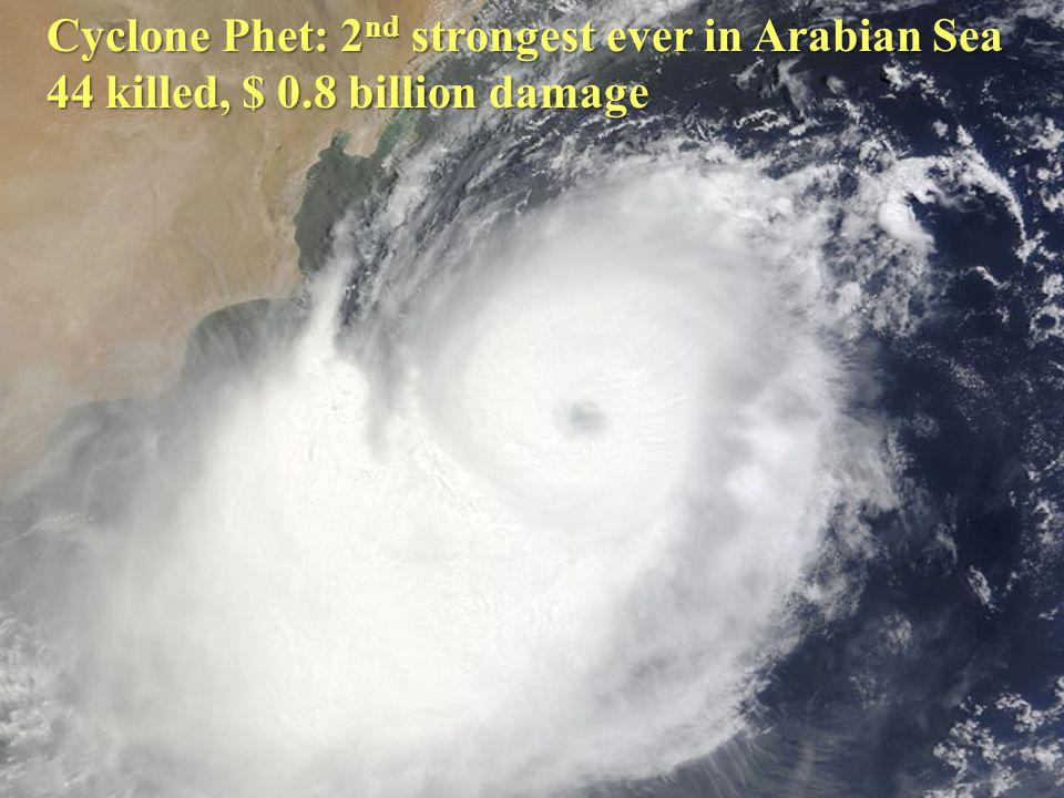 Cyclone Phet: 2 nd strongest ever in Arabian Sea 44 killed, $ 0.8 billion damage