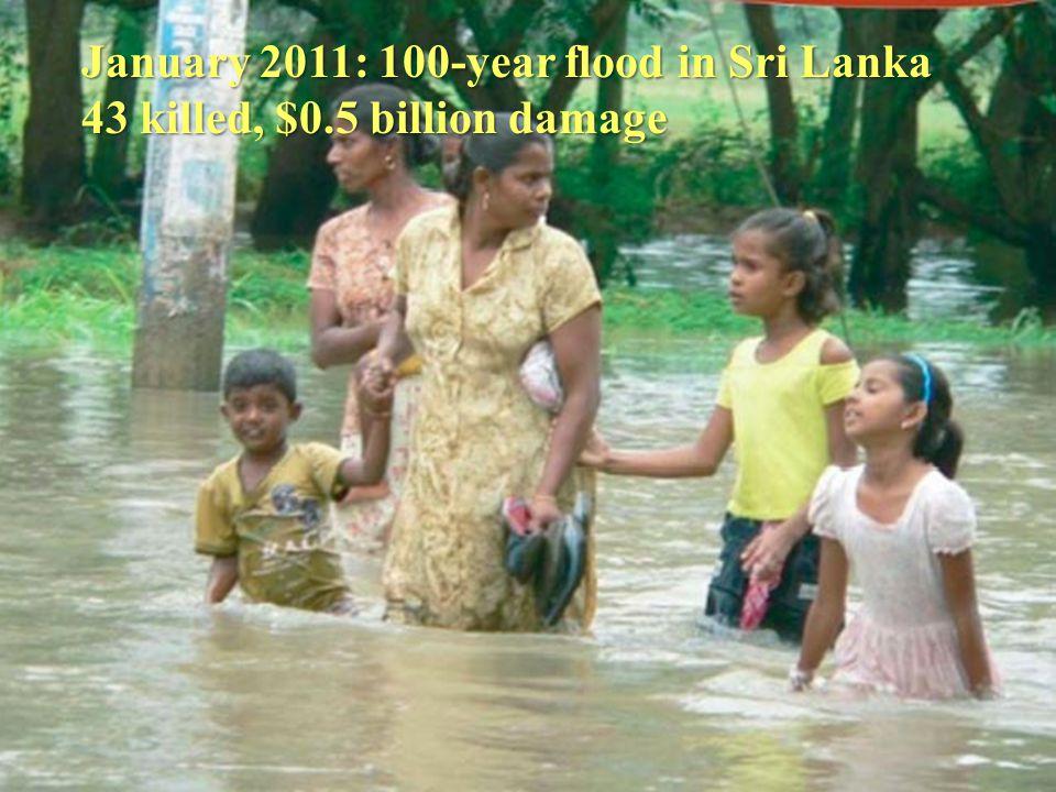January 2011: 100-year flood in Sri Lanka 43 killed, $0.5 billion damage