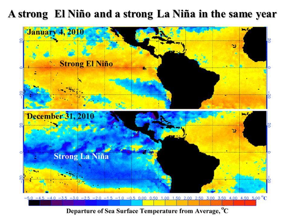 A strong El Niño and a strong La Niña in the same year