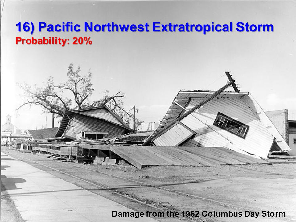 16) Pacific Northwest Extratropical Storm Probability: 20% Damage from the 1962 Columbus Day Storm