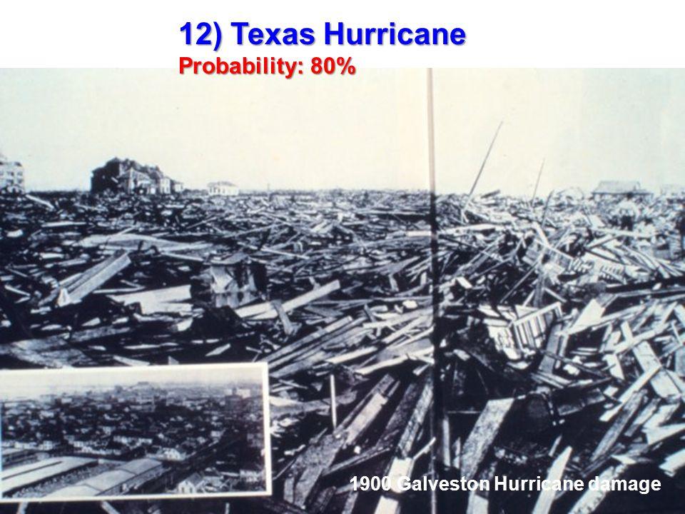 12) Texas Hurricane Probability: 80% 1900 Galveston Hurricane damage